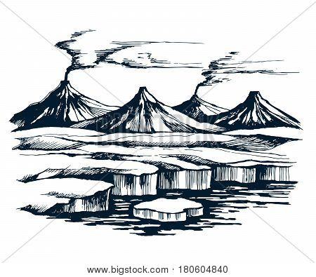 Iceland volcanic group on the island. Glacier in the foreground and mountains on the horizon. sketch vector.