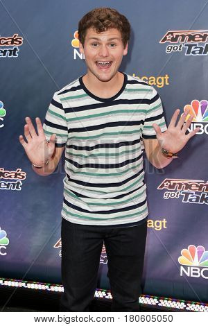 NEW YORK-AUG 11: Comedian Drew Lynch attends the 'America's Got Talent' season 10 taping at Radio City Music Hall on August 11, 2015 in New York City.