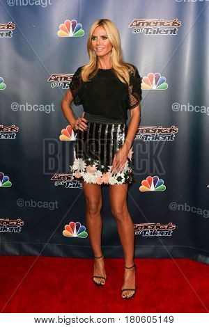 NEW YORK-AUG 12: Model Heidi Klum attends the 'America's Got Talent' Season 10 Results Show at Radio City Music Hall on August 12, 2015 in New York City.