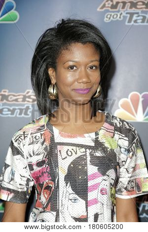 NEW YORK-AUG 12: Singer Sharon Irving attends the 'America's Got Talent' Season 10 Results Show at Radio City Music Hall on August 12, 2015 in New York City.