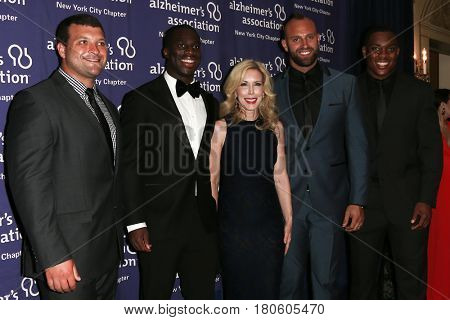 NEW YORK-JUN 8: (L-R) Henry Hynoski, Prince Amukamara, Kim Campbell, Mark Herzlick & Devon Kennard atAlzheimer's Association 2015