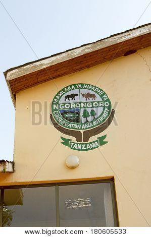 Ngorongoro Conservation Area Emblem On Wall, Tanzania