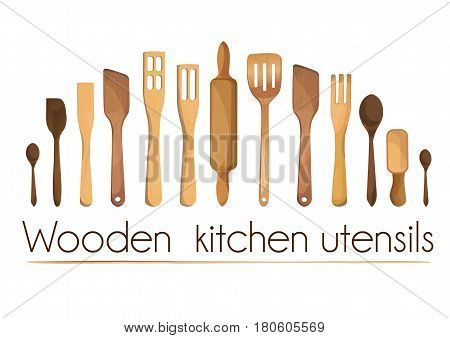 Kitchen tools wooden rustic utensils equipment ware set: trowel percolator rolling pin shovel spatula scroop scapula spoon.Vector fine horizontal top view border illustration on white background