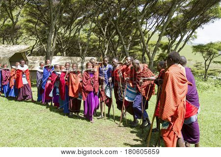Maasi Village In Ceremony, Ngorongoro Conservationa Area, Tanzania