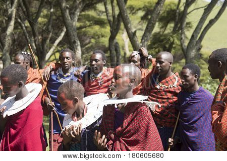 Maasi Village During Ceremony, Ngorongoro Conservationa Area, Tanzania
