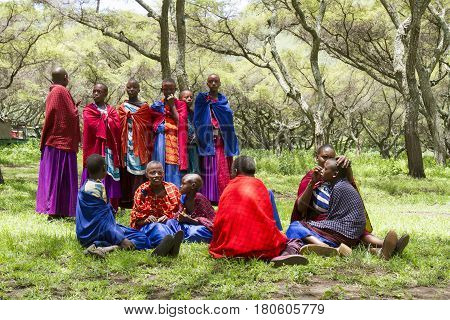 Girls In Maasi Village Preparing For Ceremony, Ngorongoro Conservationa Area, Tanzania
