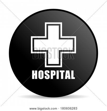 Hospital black color web design round internet icon on white background.