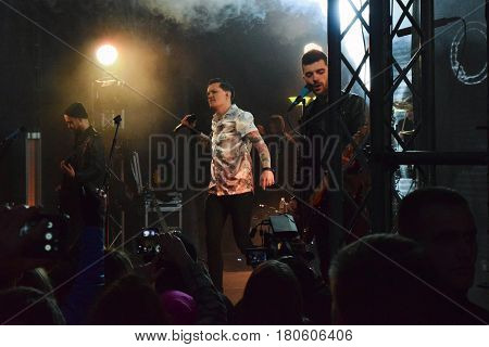 Kiev Ukraine - March 26 2017: Vocalist of the rock band O.Torvald Yevgeny Galich during the concert. Representative from Ukraine on Eurovision 2017.