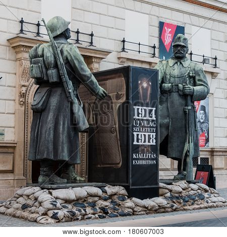 Budapest, Hungary - March 09, 2017: Sculpture of soldiers dedicated to World War located on the Ybl Miklos street in Buda bank of the Danube river