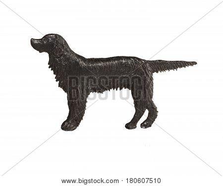 Black dog figure on white background, English Setter.