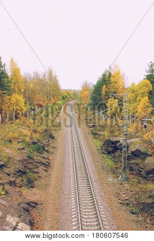 Vintage retro style photo of rail road train track pathway long pattern colorful autumn fall park nature landscape. Transit transportation industrial background. Travel, trip, journey through forest, park, trees nature concept Top view