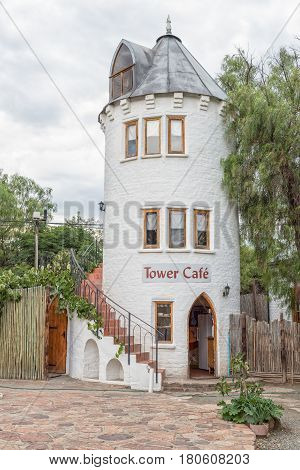 NIEU BETHESDA SOUTH AFRICA - MARCH 21 2017: A guest house in the form of a tower in Nieu-Bethesda an historic village in the Eastern Cape Province