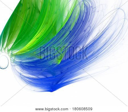the fractal and cirrus clouds multicolored blue and green