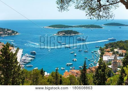 View of Hvar Harbor from the Spanish Fortress in Croatia