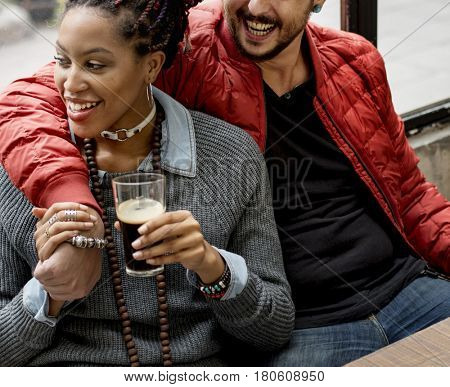 Couple Man Hug Woman Drinks