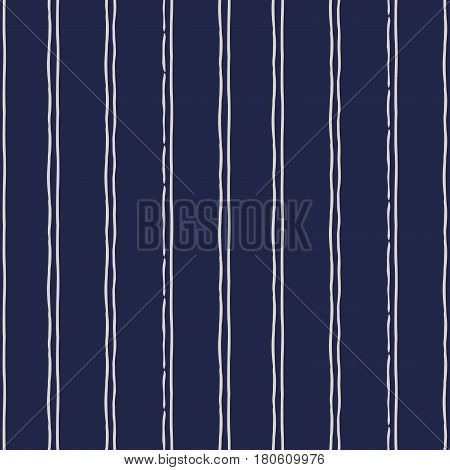 Abstract seamless background in dark blue and white. Seamless Tribal pattern. Fabric textile print. Simple folk uneven motif with strips. Striped pattern.Russia ethnic vector background.