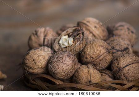 Walnuts close-up walnuts on a dark background.