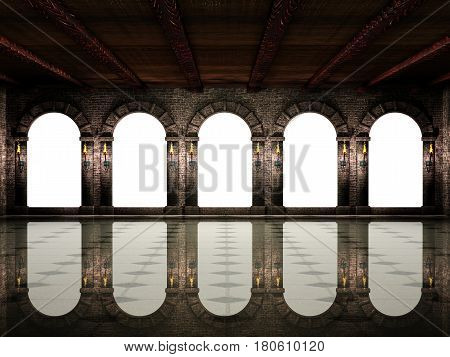 Dark medieval castle hall with arches and torches.3d illustration.