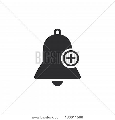 Bell With Plus Sign, Add Alarm Icon Vector, Solid Logo Illustration, Pictogram Isolated On White