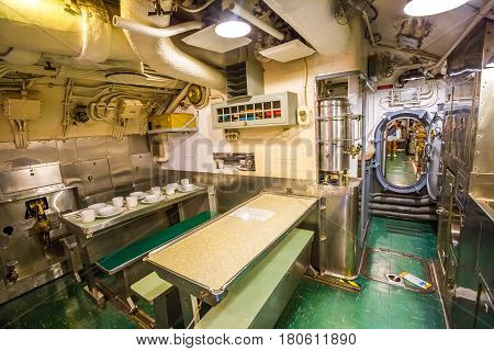HONOLULU, OAHU, HAWAII, USA - AUGUST 21, 2016: dining room with sink of USS Bowfin Submarine SS-287 at Pearl Harbor. Historic Landmark and popular tourist attraction in Oahu, Hawaii.