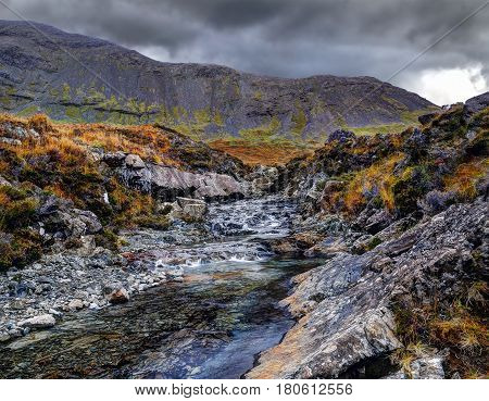 Dramatic morning in Fairy Pools Glen Brittle Isle of Skye Inner Hebrides Highlands Scotland UK