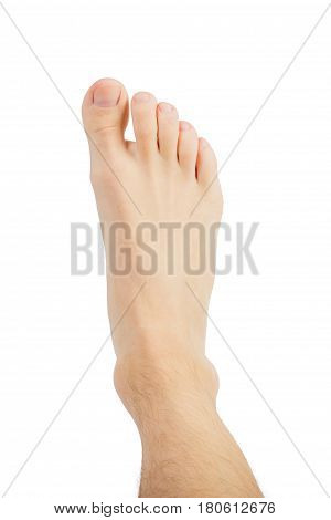Closeup leg men hairy leg for health care concept