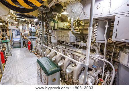 HONOLULU, OAHU, HAWAII, USA - AUGUST 21, 2016: engine room of USS Bowfin Submarine SS-287 at Pearl Harbor. Pearl Harbor is a military Hawaiian port in Oahu island.