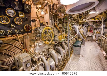 HONOLULU, OAHU, HAWAII, USA - AUGUST 21, 2016: hall of the engine room of USS Bowfin Submarine SS-287 at Pearl Harbor. Historic Landmark of the Japanese attack in WW II.