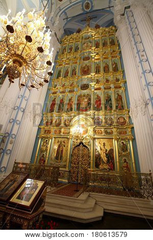 ISTRA RUSSIA-MARCH 03 2017: The iconostasis of the resurrection Cathedral in New Jerusalem monastery. Istra Moscow region.