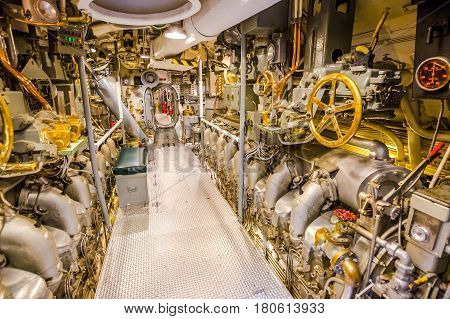 HONOLULU, OAHU, HAWAII, USA - AUGUST 21, 2016: door of the engine room of USS Bowfin Submarine SS-287 at Pearl Harbor. Historic Landmark of the Japanese attack in WW II.