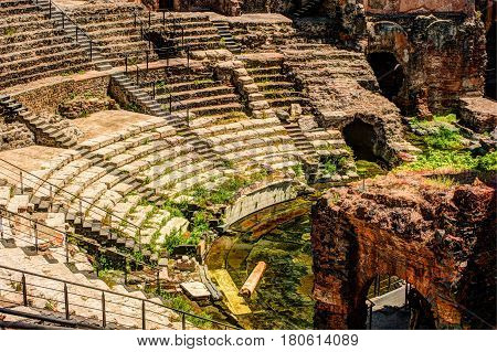 Ancient Roman theater in Catania, built from the limestone and black lava.