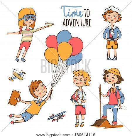 Little travelers around the world. Young sailor with binoculars. Scout with backpack and walking stick. Funny boy with a boat. Romantic pilot helmet with a paper airplane. Flying on balloons.
