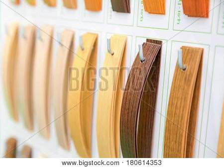 Wooden veneer samples palette closeup
