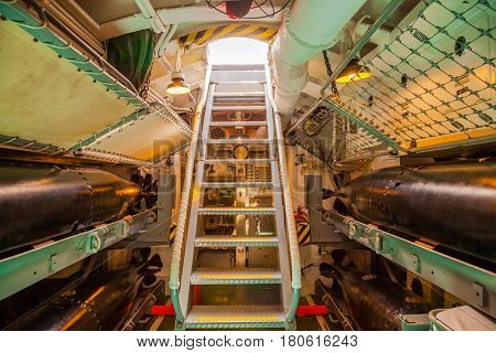 HONOLULU, OAHU, HAWAII, USA - AUGUST 21, 2016: exit stairs from torpedo room to the deck of USS Bowfin Submarine SS-287 at Pearl Harbor, a military Hawaiian port in Oahu island.