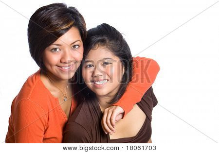 Two beautiful sisters from Asian background.