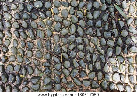 Paved stone rock pebble textured step pattern decoration