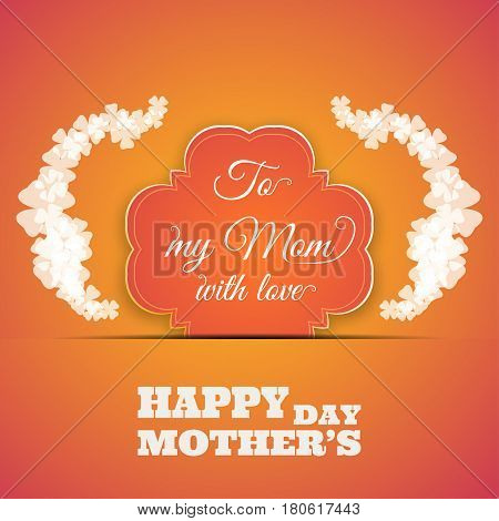 Happy Mother's Day vector poster on the gradient yellow background with text shape insert in the paper pocket glow clover leaves.