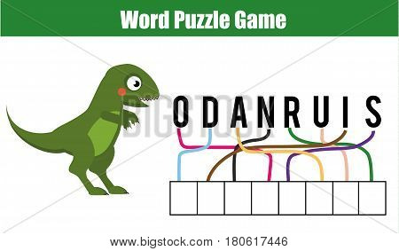 Words puzzle children educational game. Place the letters in right order. Learning vocabulary and animals. Printable worksheet for pre school years kids