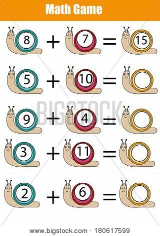 Mathematics educational game for children. Learning counting, addition worksheet for kids. Calculate the numbers in snails