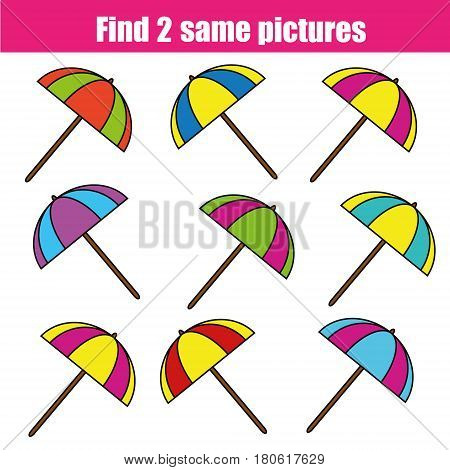 Find the same pictures children educational game. Find equal pairs of umbrella kids activity