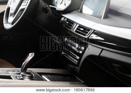 Control dashboard in a luxury car. Car interior