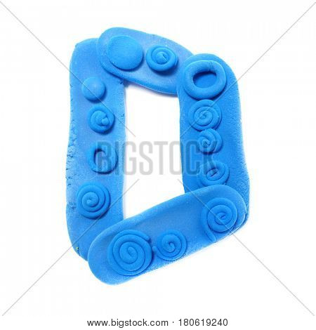 Plasticine letter D . Color plasticine alphabet, isolated.