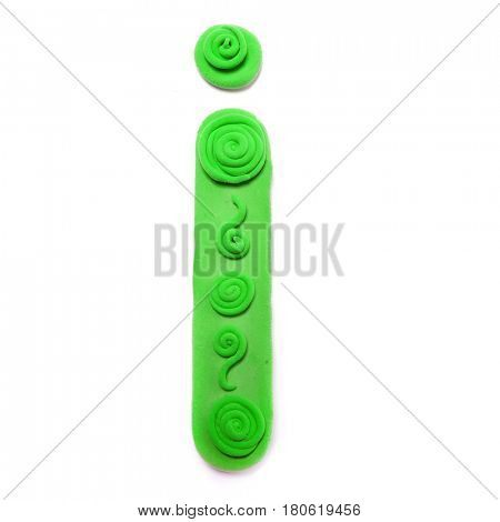 Plasticine letter I. Color plasticine alphabet, isolated.