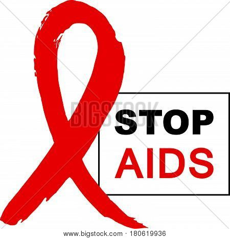 Hand drawn red AIDS HIV ribbon design template with text STOP AIDS day. World AIDS day. Medical sign. World AIDS Day ribbon for AIDS background. AIDS Awareness ribbon.