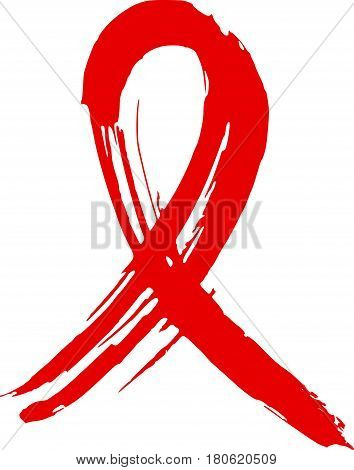 Hand drawn red AIDS HIV ribbon. Design template to World AIDS day..Medical sign..Awareness ribbon for AIDS background.