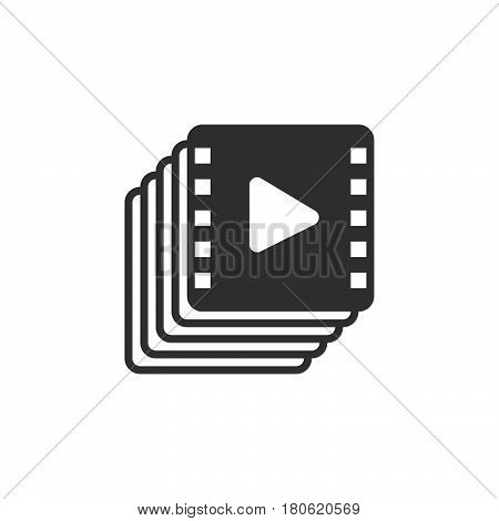 Video Collection Icon Vector, Playlist Solid Logo Illustration, Pictogram Isolated On White