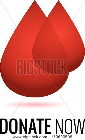 Realistic blood drops for World Donation Day. Donate now message..Medical sign. Vector illustration.