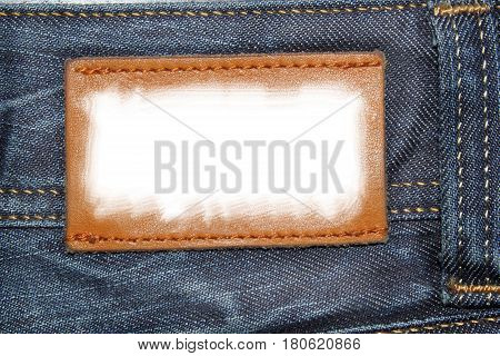 White lable in a jeans fabric texture