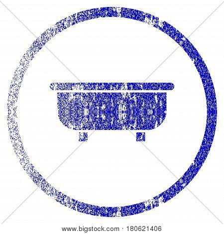 Bathtub grunge textured icon. Flat style with dirty texture. Corroded vector blue rubber seal stamp style. Designed for overlay watermark stamp elements with grainy design.