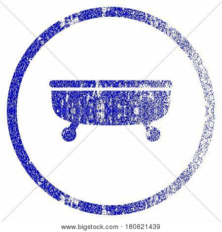 Bathtub grunge textured icon. Flat style with dust texture. Corroded vector blue rubber seal stamp style. Designed for overlay watermark stamp elements with grainy design.